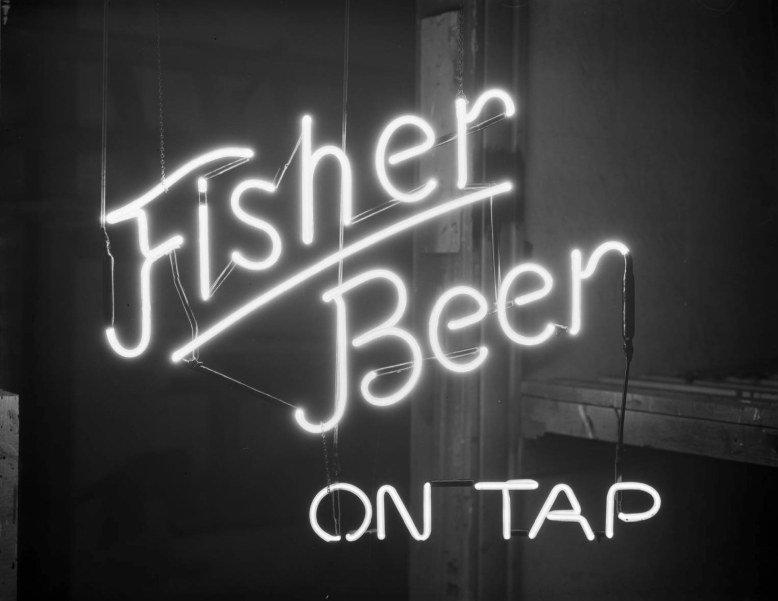 Fisher Beer Sign, Nov. 1935 __ Utah State Historical Society - Clifford Bray Film Negatives