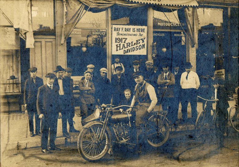 Motorcycle in front of Mahowald_s Cycle Shop, Mankato, Minnesota __ Blue Earth County Historical Society-1