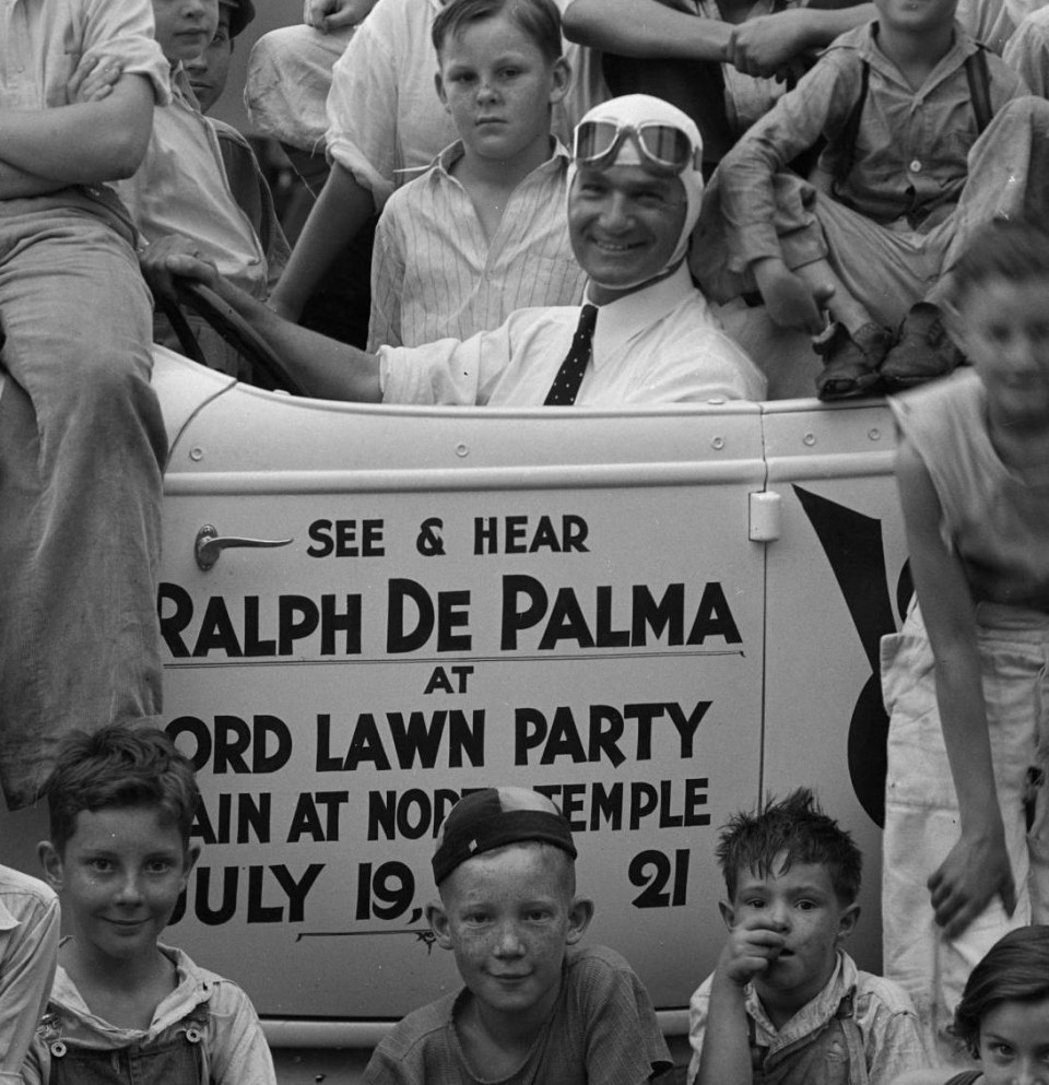 Ralph DePalma with Ford V8 and Kids, July 1934 __ Utah State Historical Society - Clifford Bray Film Negatives-3