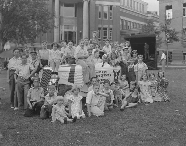 Ralph DePalma with Ford V8 and Kids, July 1934 __ Utah State Historical Society - Clifford Bray Film Negatives
